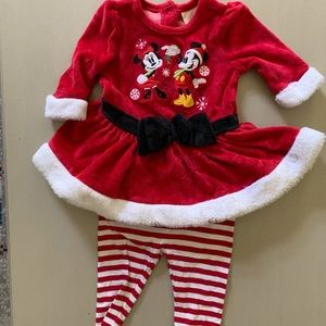 Disney baby Christmas dress and leggings 3-6 mo
